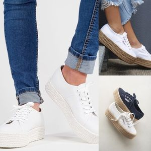 NEW Superga tot white cotcoloropew sneakers